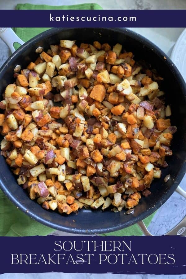 Top view of a skillet filled with white and orange potatoes with text on image for Pinterest.
