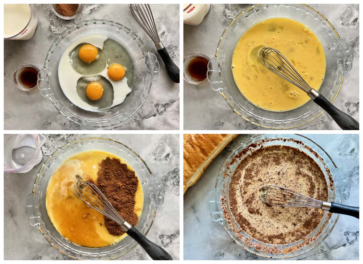 Four photos of making the egg/milk batter for french toast.