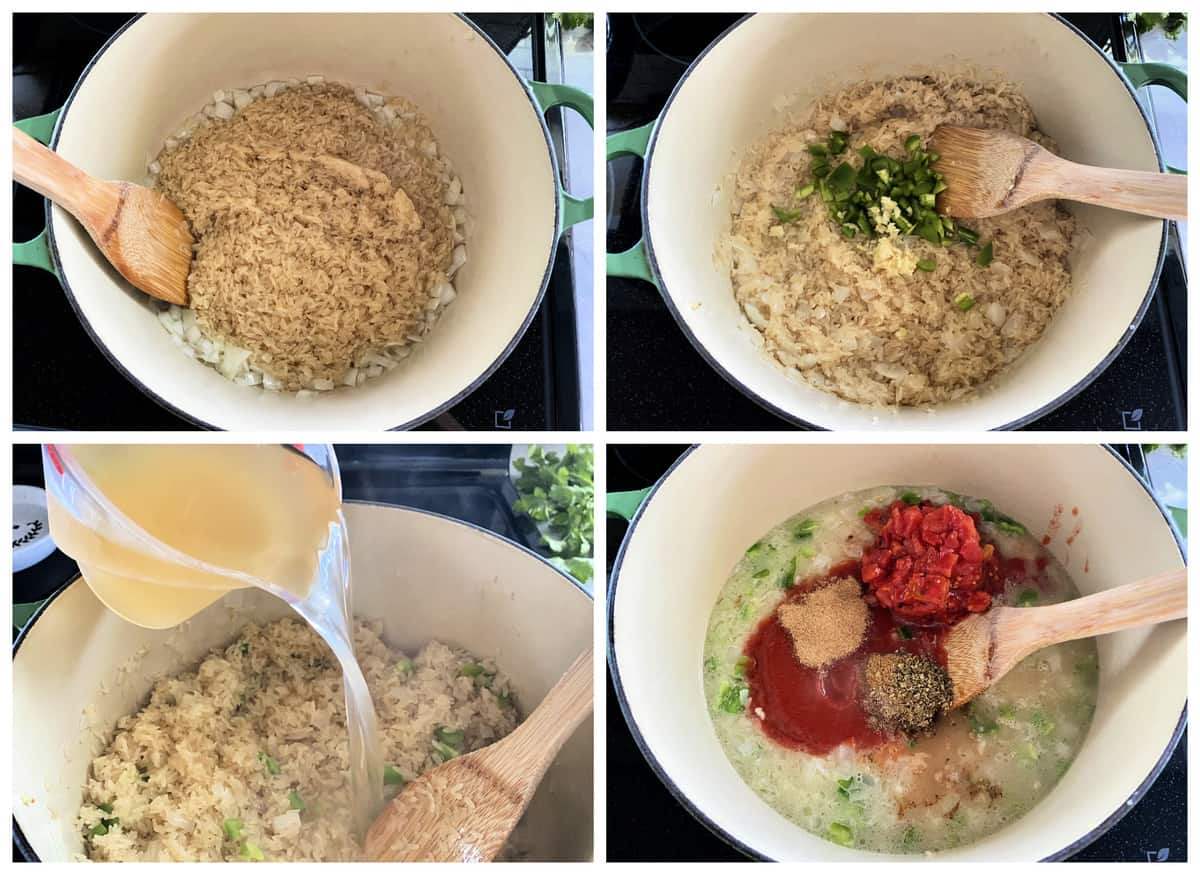 Four photos showing how to make Mexican Rice on the stove top.