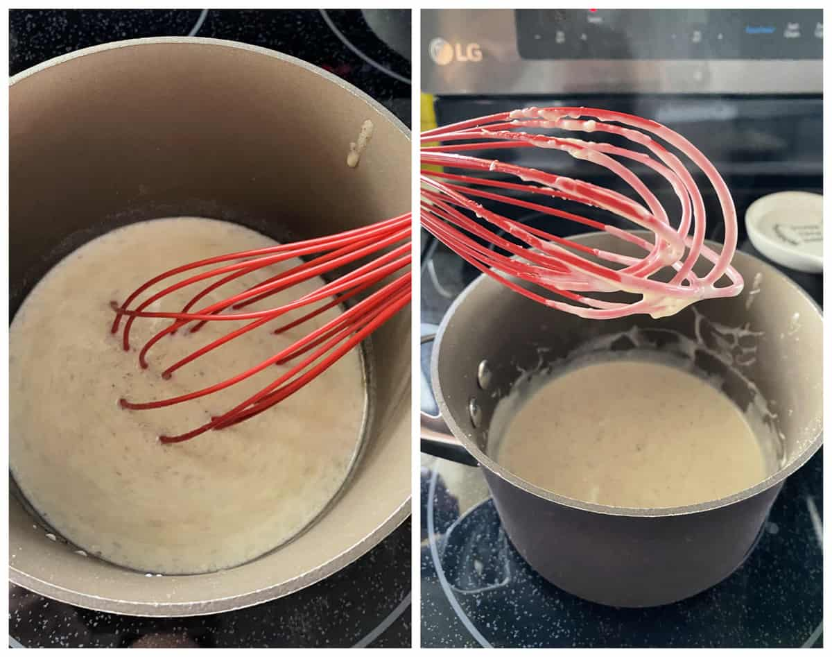 Two photos of stirring white gravy on the stove top in a sauce pan.
