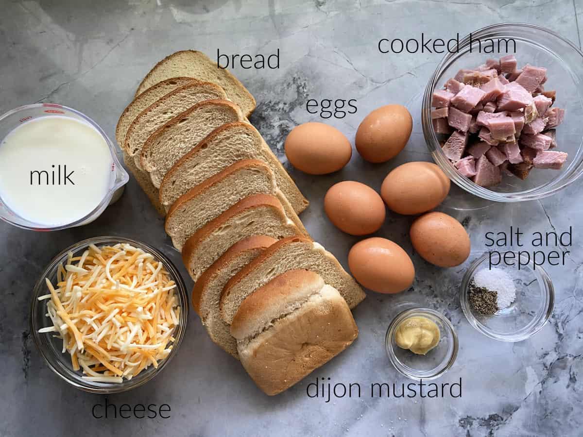 Ingredients: milk, cheese, bread, eggs, cooked ham, dijon mustard, salt and pepper.
