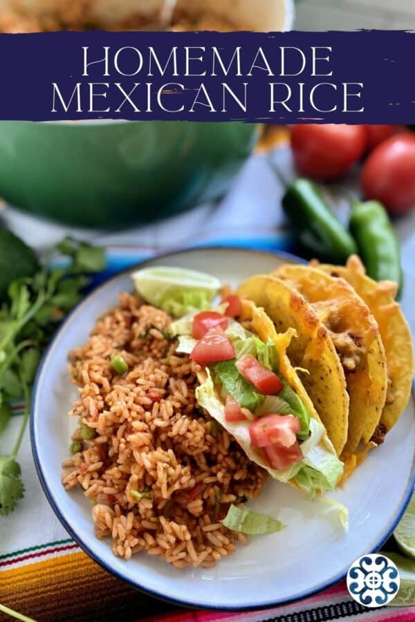 Top view of a white plate with Mexican Rice with recipe title on image.
