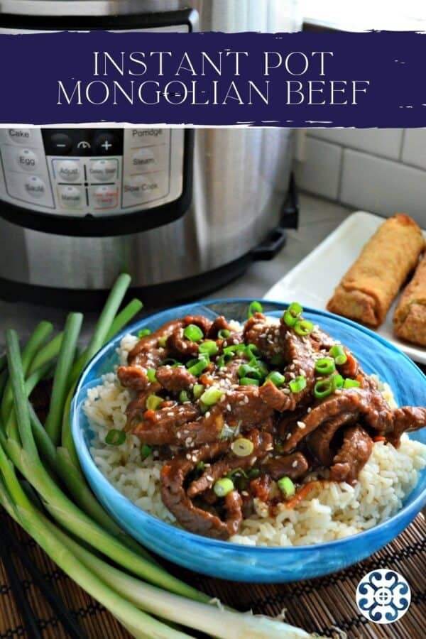 Blue bowl filled with rice and strips of beef with Instant Pot in background and text on image for Pinterest.
