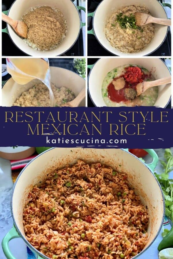 5 photos split by recipe title text; top 4 of how to make Mexican Rice, bottom photo of a pot of Mexican Rice.