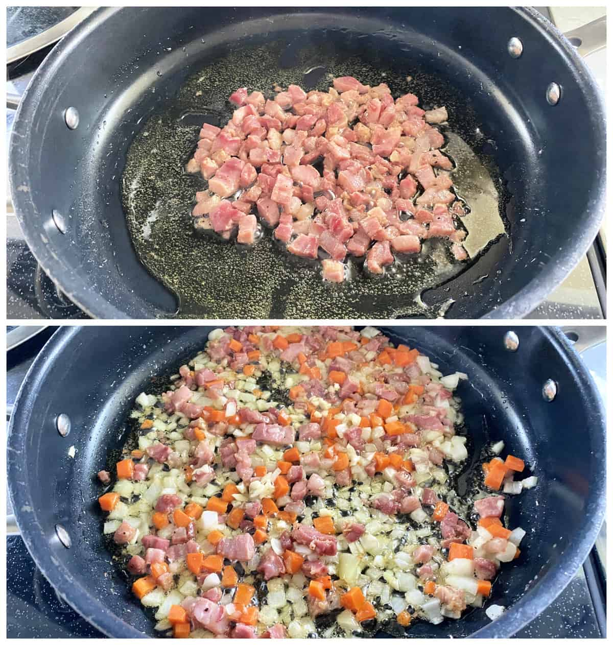 Two photos; Top of diced meat in an oil skillet. Bottom of diced onion, carrots, and meat in skillet.