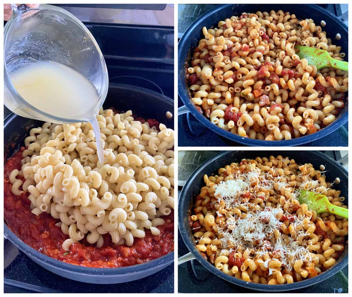 Three photos: left of pasta water pouring into corkscrew pasta with sauce, right of grated cheese and basil.