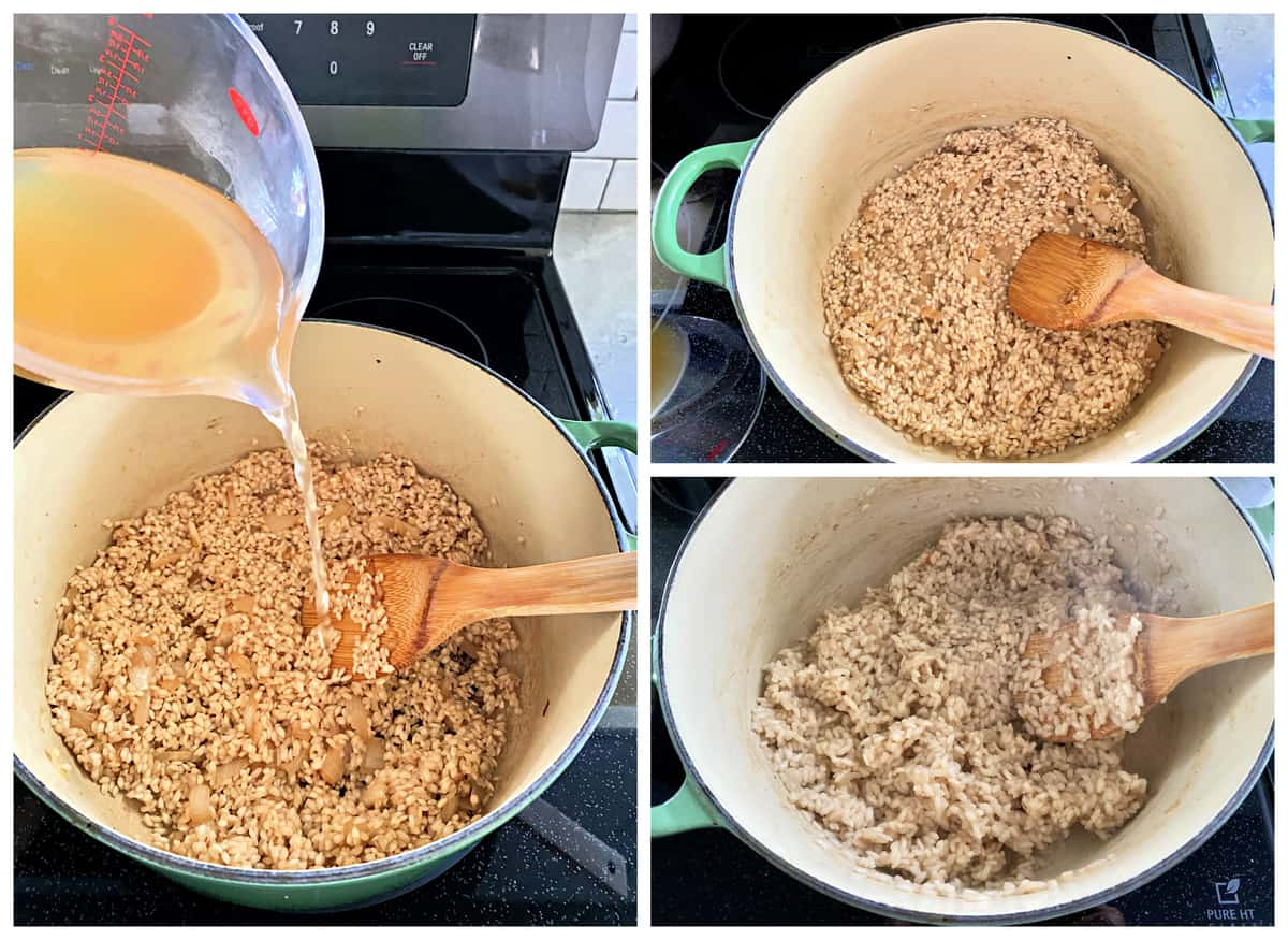 Three photos of risotto being made in a green stock pot on the stove.