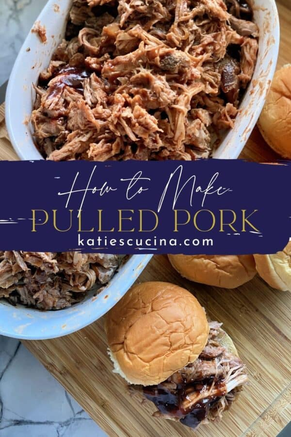Two photos divided by recipe title text; bottom of pulled pork sandwich, top of a white bowl filled with shredded pork.