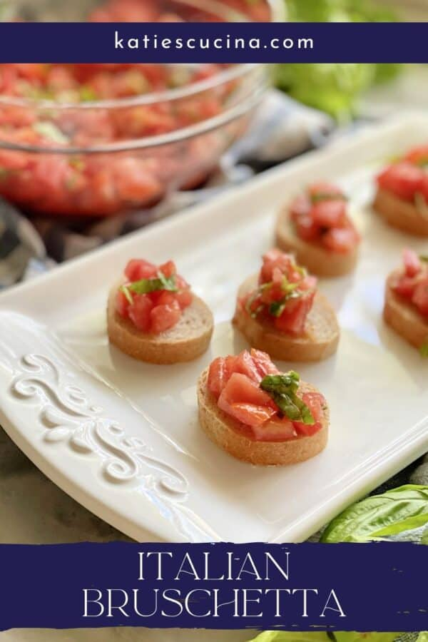 White tray with bruschetta on it with text on image for Pinterest.