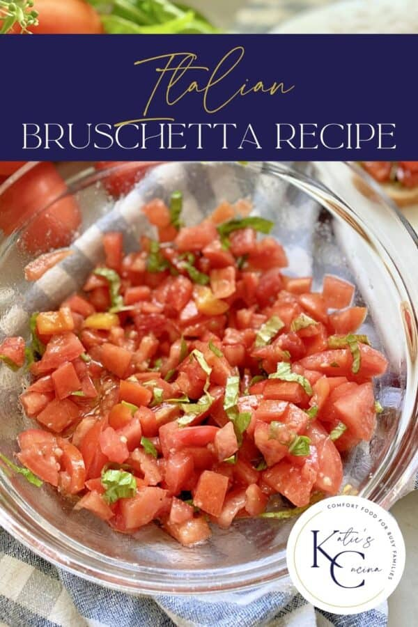 Glass bowl filled with diced tomatoes with basil and recipe title text on image.