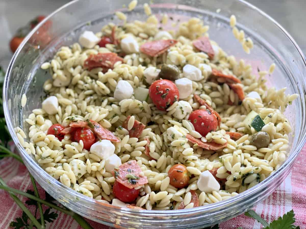 Gladd bowl filled with orzo Italian pasta salad.