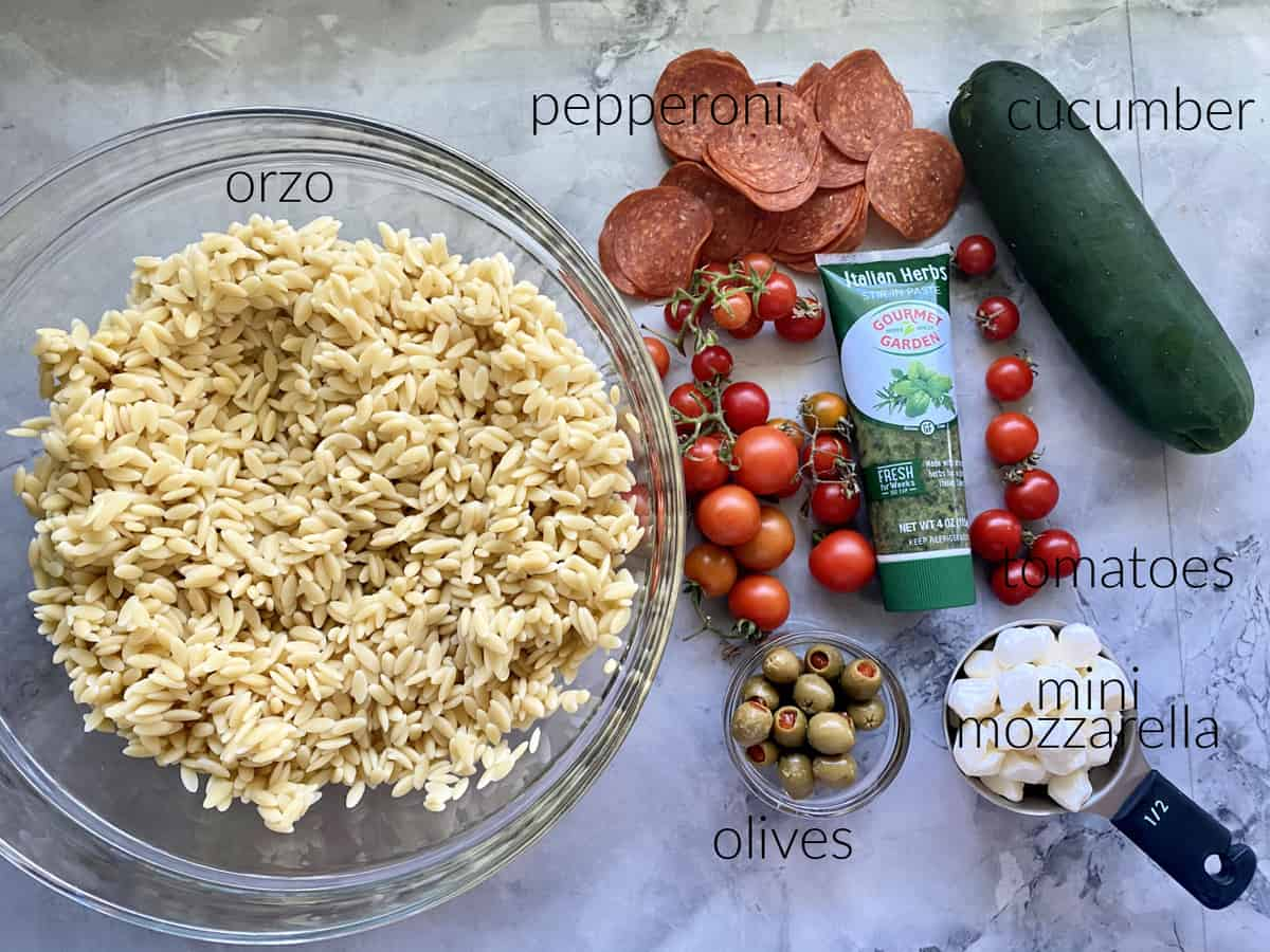 Ingredients on counter; orzo, pepperoni, cucumber, tomatoes, italian herbs, olives, and mini mozzarella.