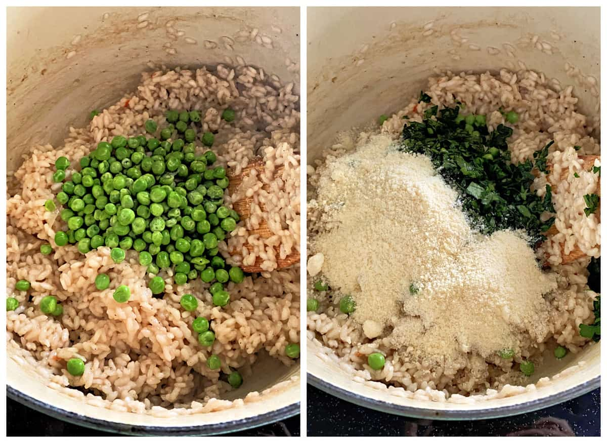 Two photos; left of risotto with peas, right with parsley and parmesan cheese.