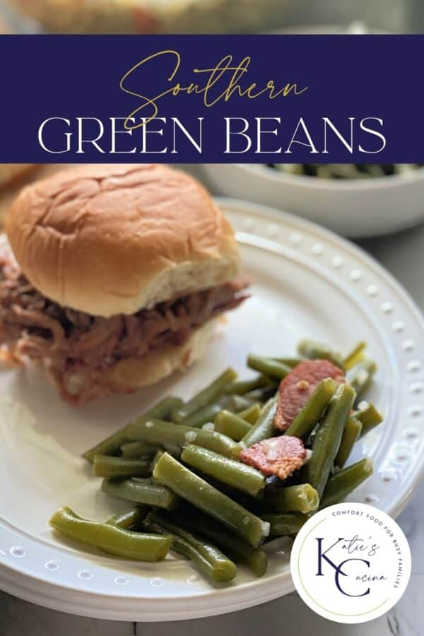 White plate filled with green beans and pulled pork sandwich with recipe title text on image.