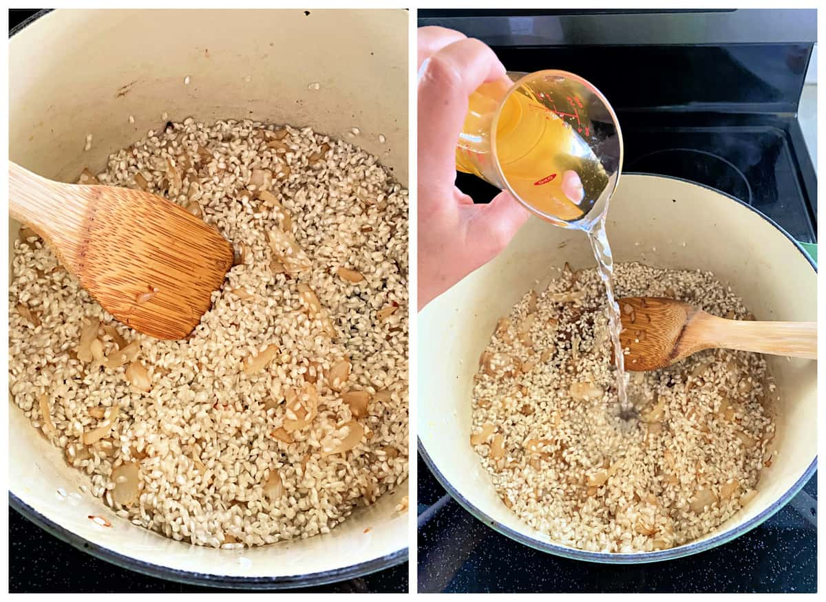 Two photos: left with wooden spoon and arborio rice, right women pouring wine into a potwith arborio rice.