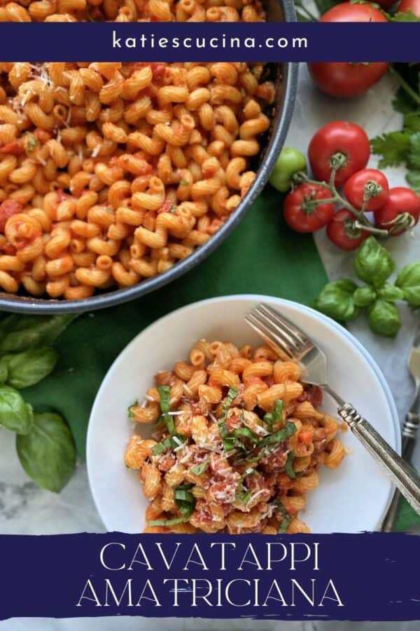Top view of a skillet and bowl filled with corkscrew pasta with tomato sauce with recipe title text on image.