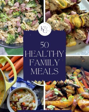 Four photos of one pot meals, chicken kabobs, and soup with text on image for Pinterest.