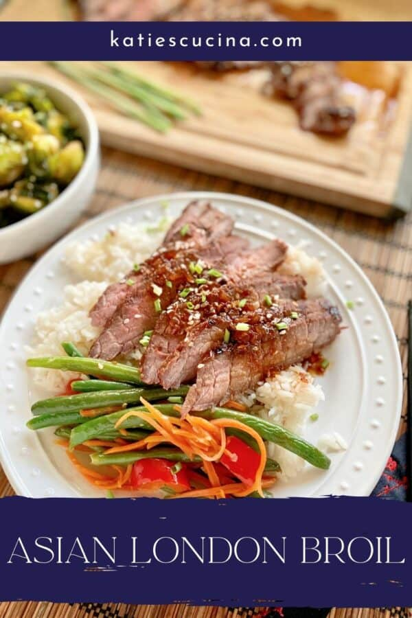 White plate with rice, green beans, and steak with recipe title on photo.