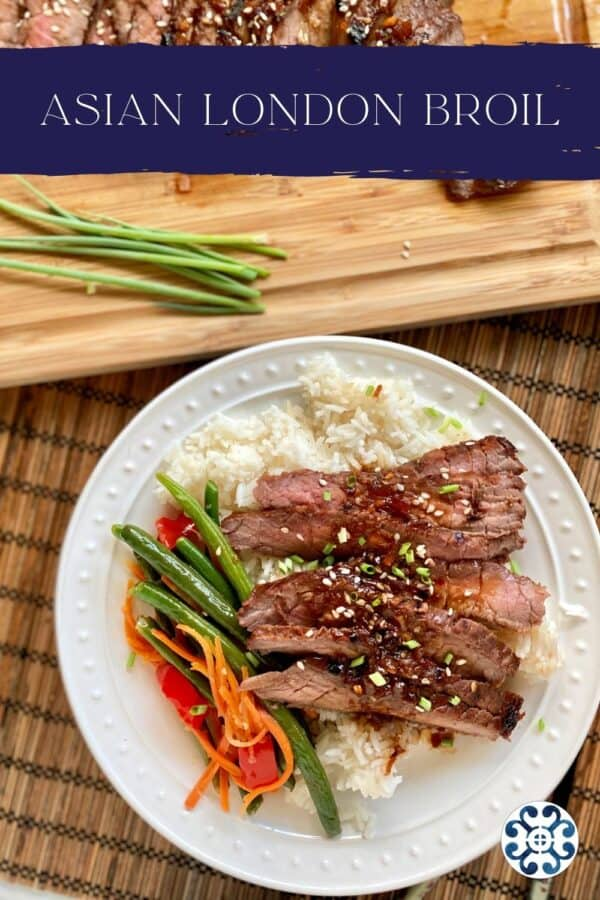 Top view of a white plate filled with rice, steak, and green beans with recipe title on photo.