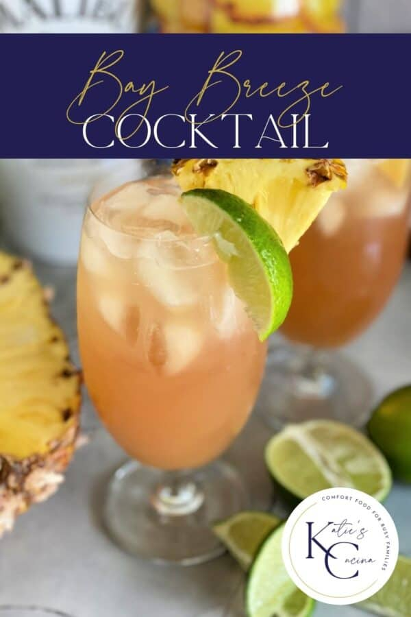 Glass of a Bay Breeze cocktail with text on image for Pinterest.