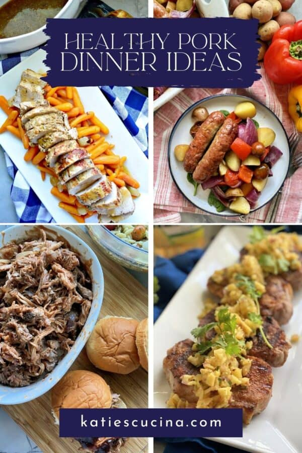 Four photos; pork tenderloin, sausage bake, pork chops and pulled pork with recipe title text on image.