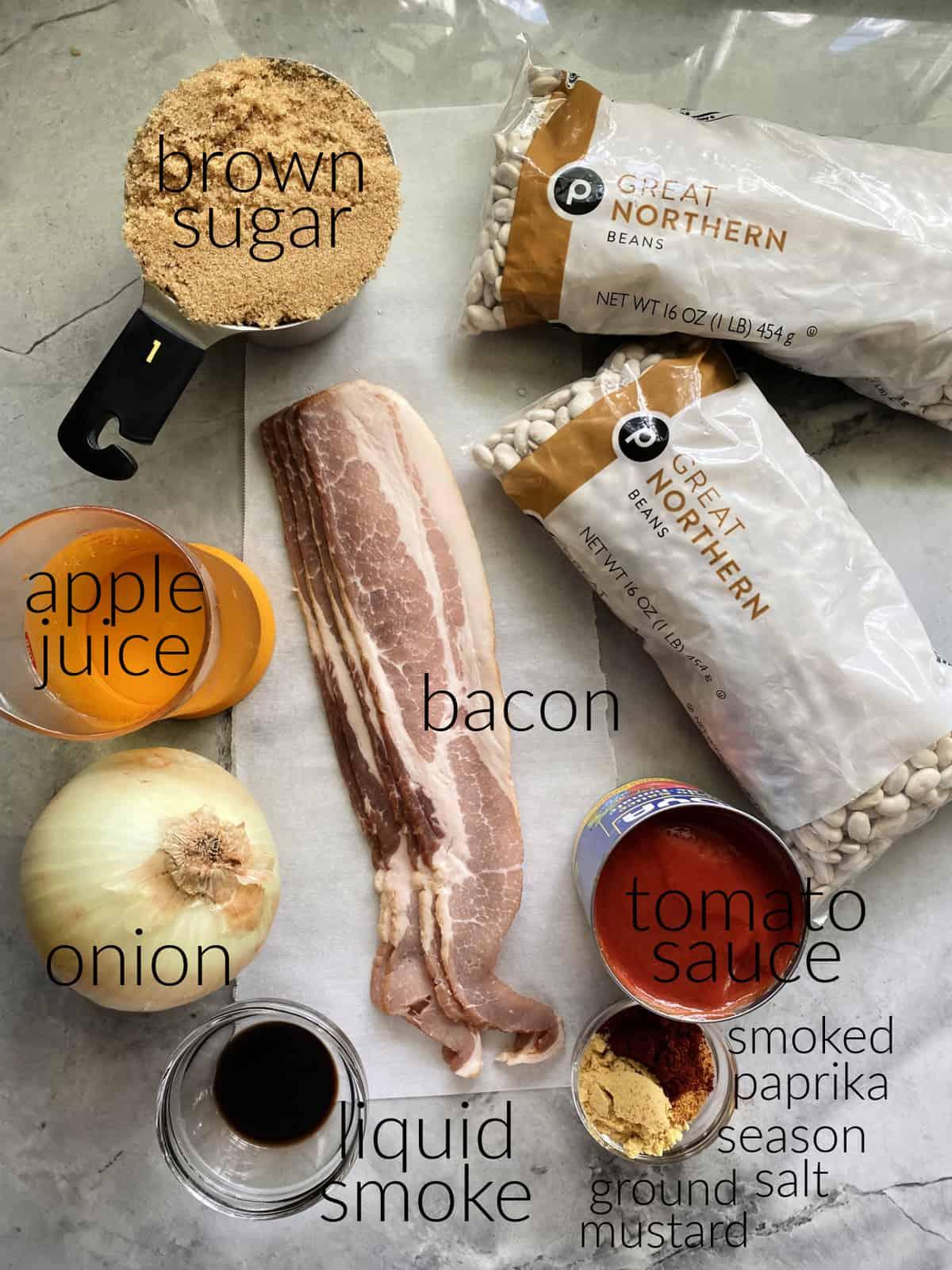 Ingredients: brown sugar, great northern beans, bacon,apple juice, onion, liquid smoke, tomato sauce, and seasonings.