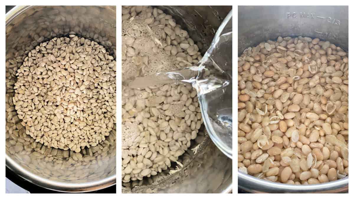 Three photos of white beans in an Instant Pot.