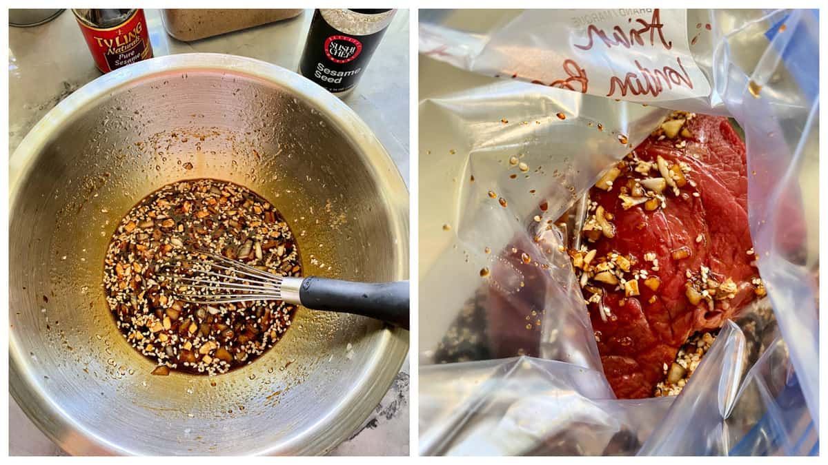 Two photos; left of a silver mixing bowl with sauce and a whisk, right photo of steak with marinade in a bag.