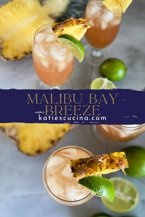 Two photos of Bay Breeze Cocktails divided by text on image for Pinterest.