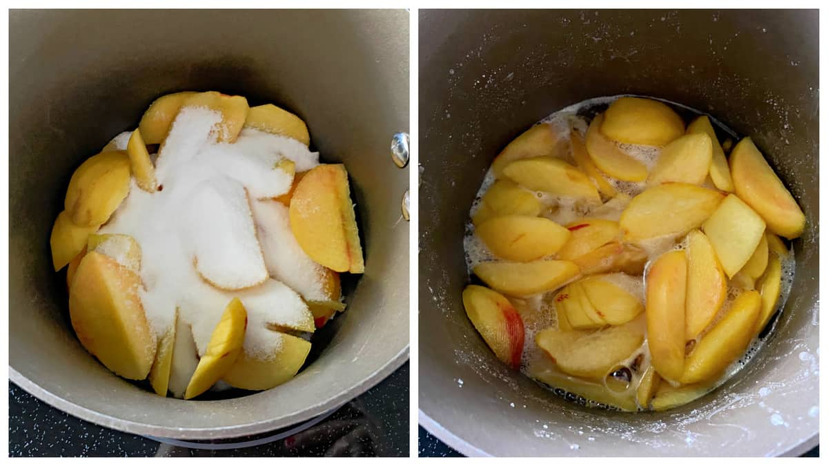 Two photos of a black pot filled with sliced peaches with sugar and syrup.