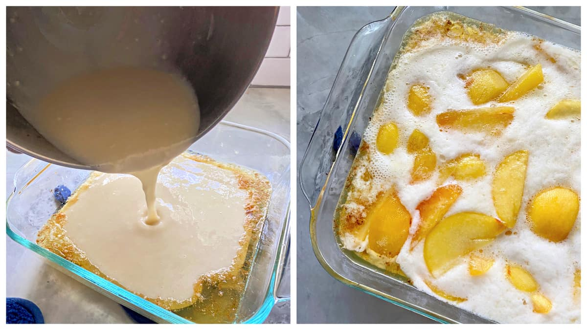Two photos of a square glass baking dish; left of batter being pour on top of the dish. Right of peaches and batter.