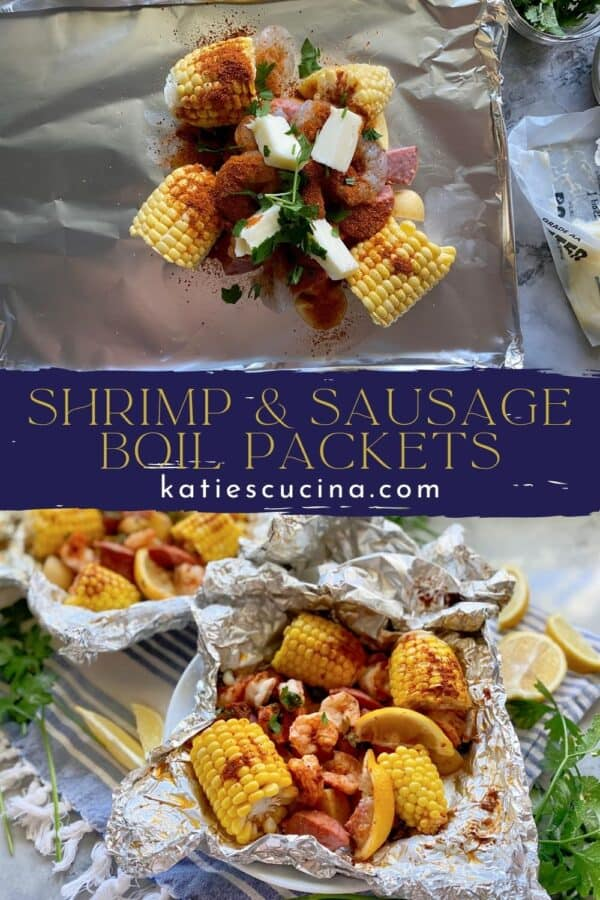 Two photo split by text; top of ingredients assembled raw for foil packet. Bottom of a bowl of Shrimp Boil Packet cooked.