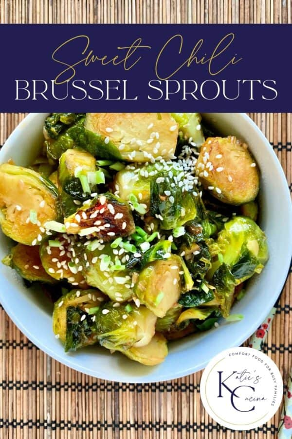 Top view of a white bowl filled with sliced brussels sprouts with text on image for Pinterest.