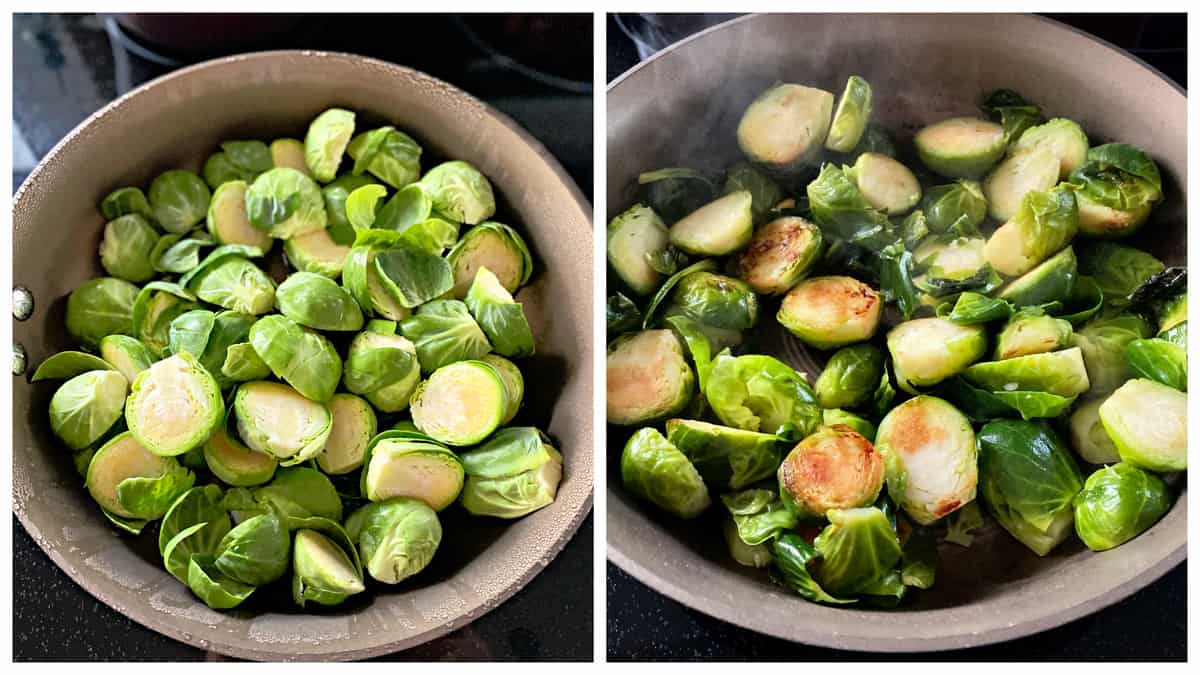 Two photo; left of sliced fresh brussel sprouts in a pan right of cooked brussels sprouts in a pan.