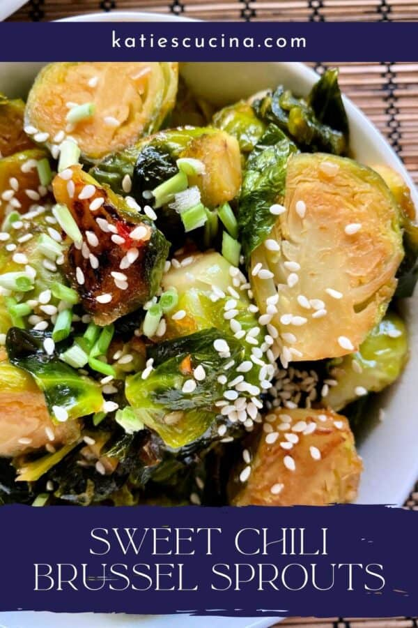 Close up of sliced brussel sprouts in a bowl with text on image for Pinterest.