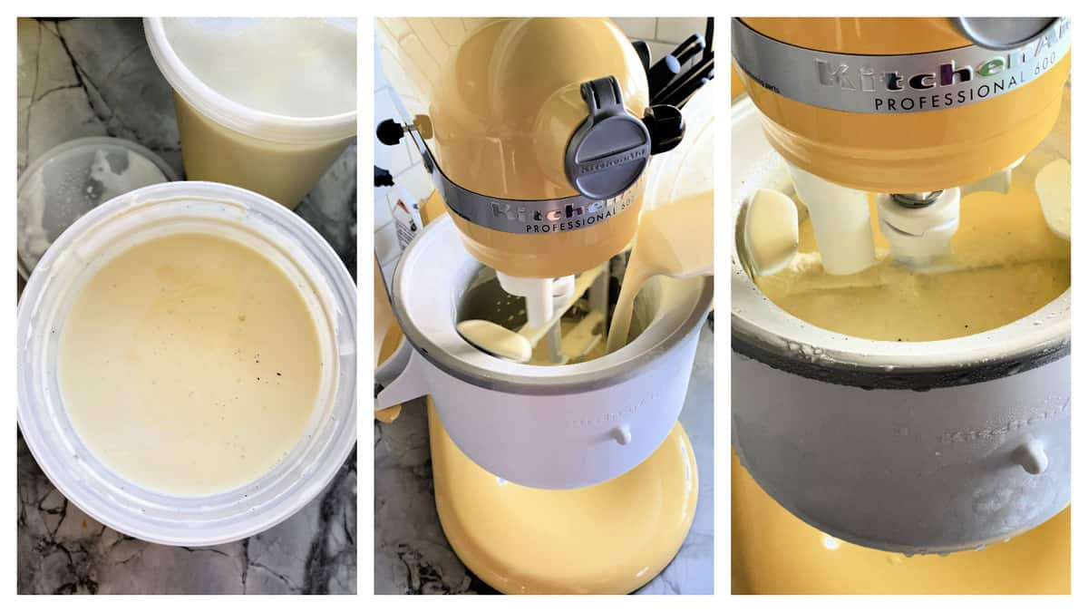 Three photos of ice cream batter churning in a KitchenAid Mixture Ice Cream attachment.