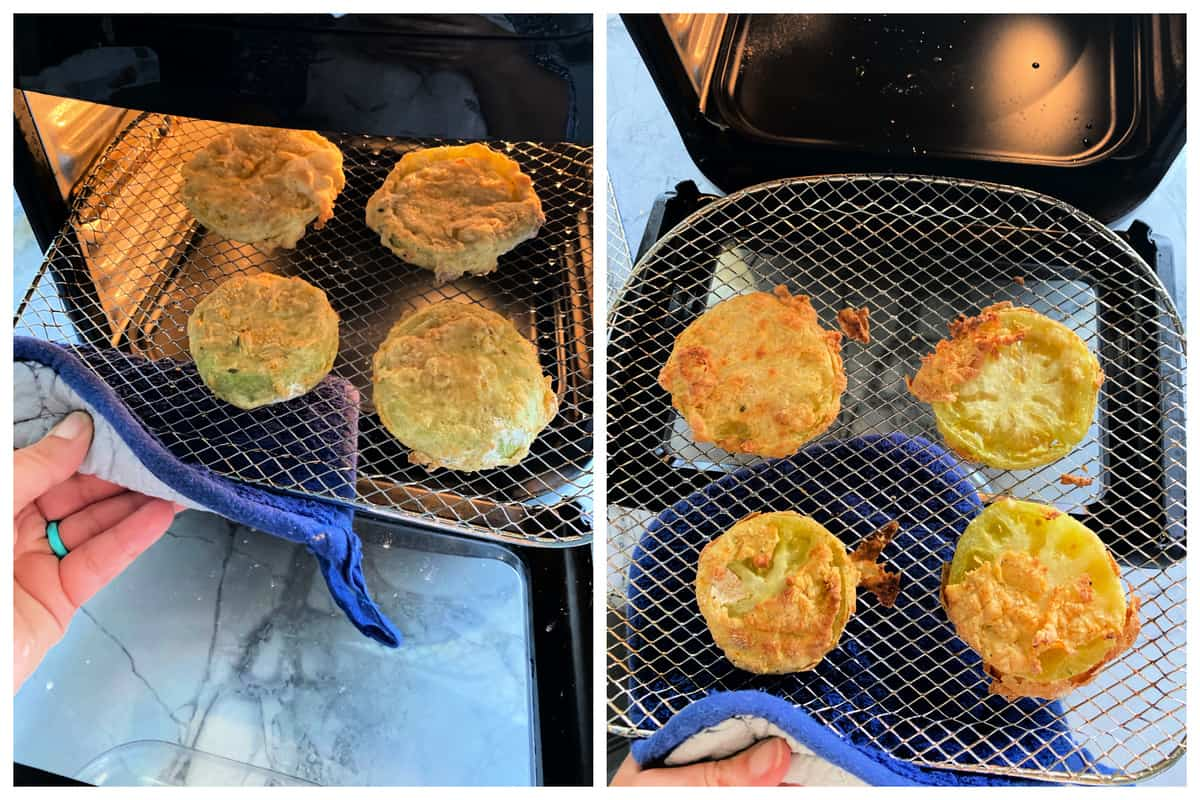Two photos of Fried Green Tomatoes on wire racks cooked.