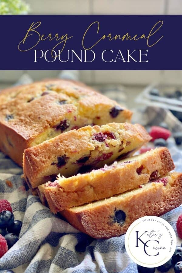 Three slices from a berry pound cake on a checkered cloth with recipe title text on image for Pinterest.