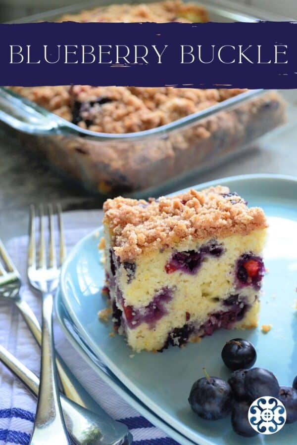 Two blue square plates with a square piece of Blueberry Coffee Cake with recipe title text on image for Pinterest.