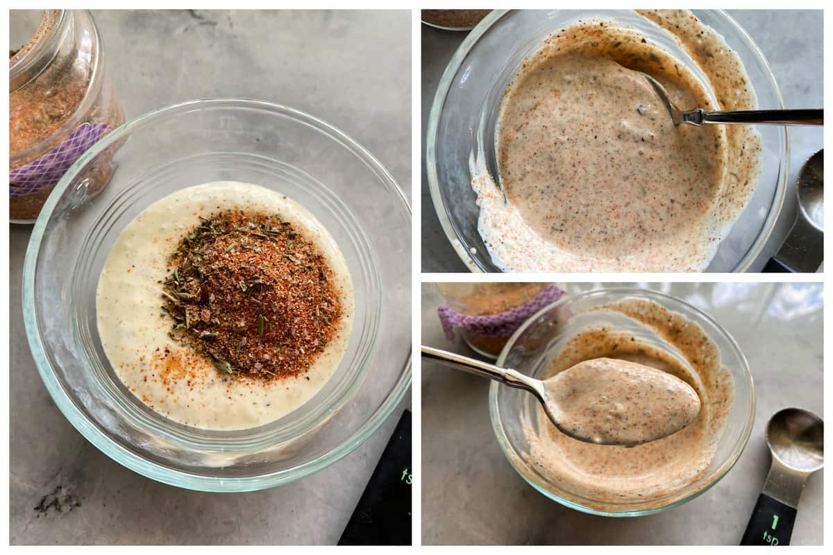 Three photos; left of a glass bowl with spices and ranch. Two right photos of mixed ranch sauce.