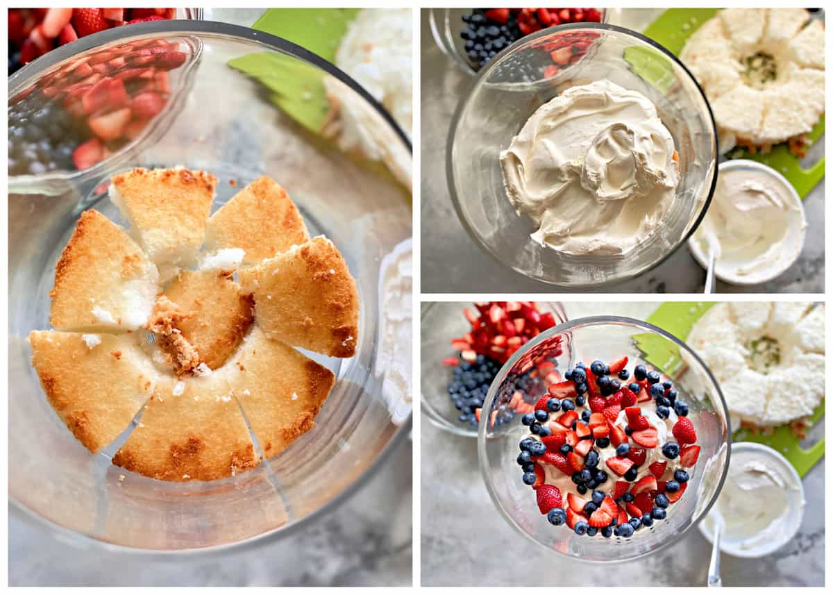 Three photos showing how to layer the Berry Trifle in a glass berry trifle bowl.