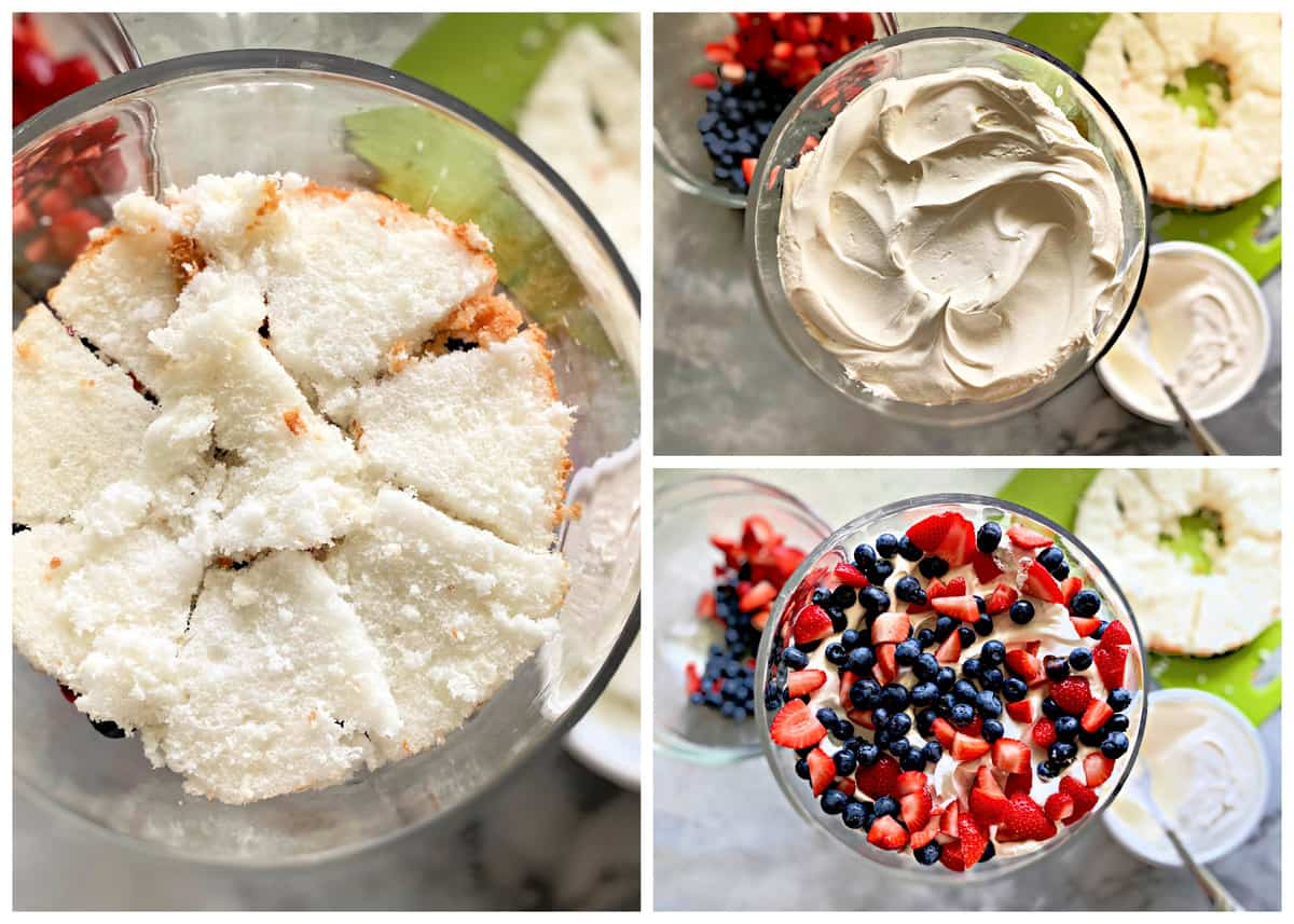 Three photos: left of cake chopped in a glass bowl, top right of whipped topping in bowl, bottom right of chopped fruit.