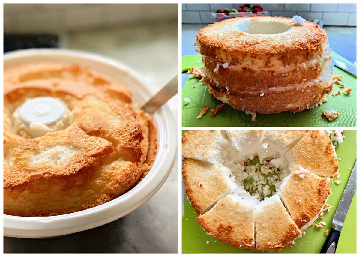 Three photos showing how to remove and slice store bought angel food cake.