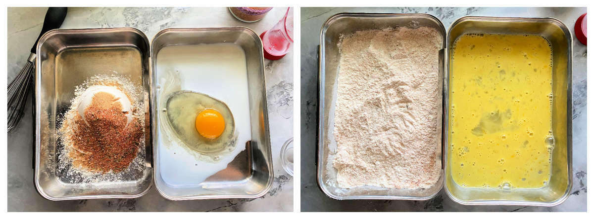 Two photos of metal tins with egg wash and flour mixture.