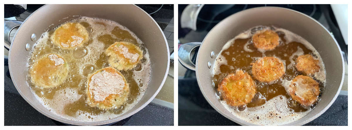 Two photos of a frying pan filled with oil and breaded tomtaoes.
