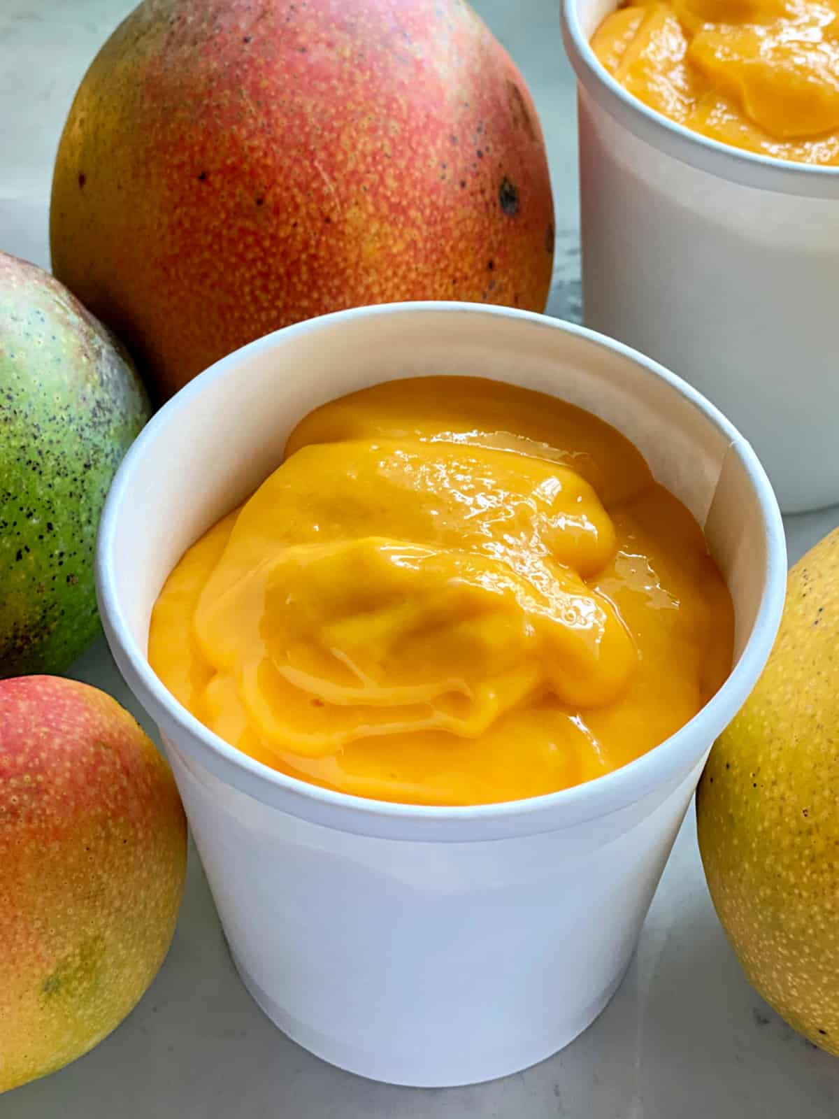 White carton filled with Mango Frozen Yogurt with additional fresh mangoes around the container.