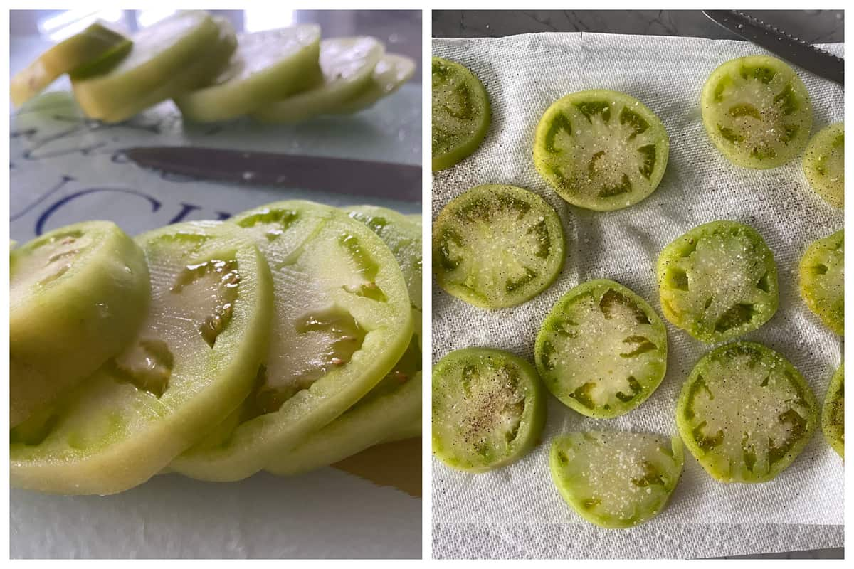Sliced green tomatoes on the left and salted green tomatoes on the right.