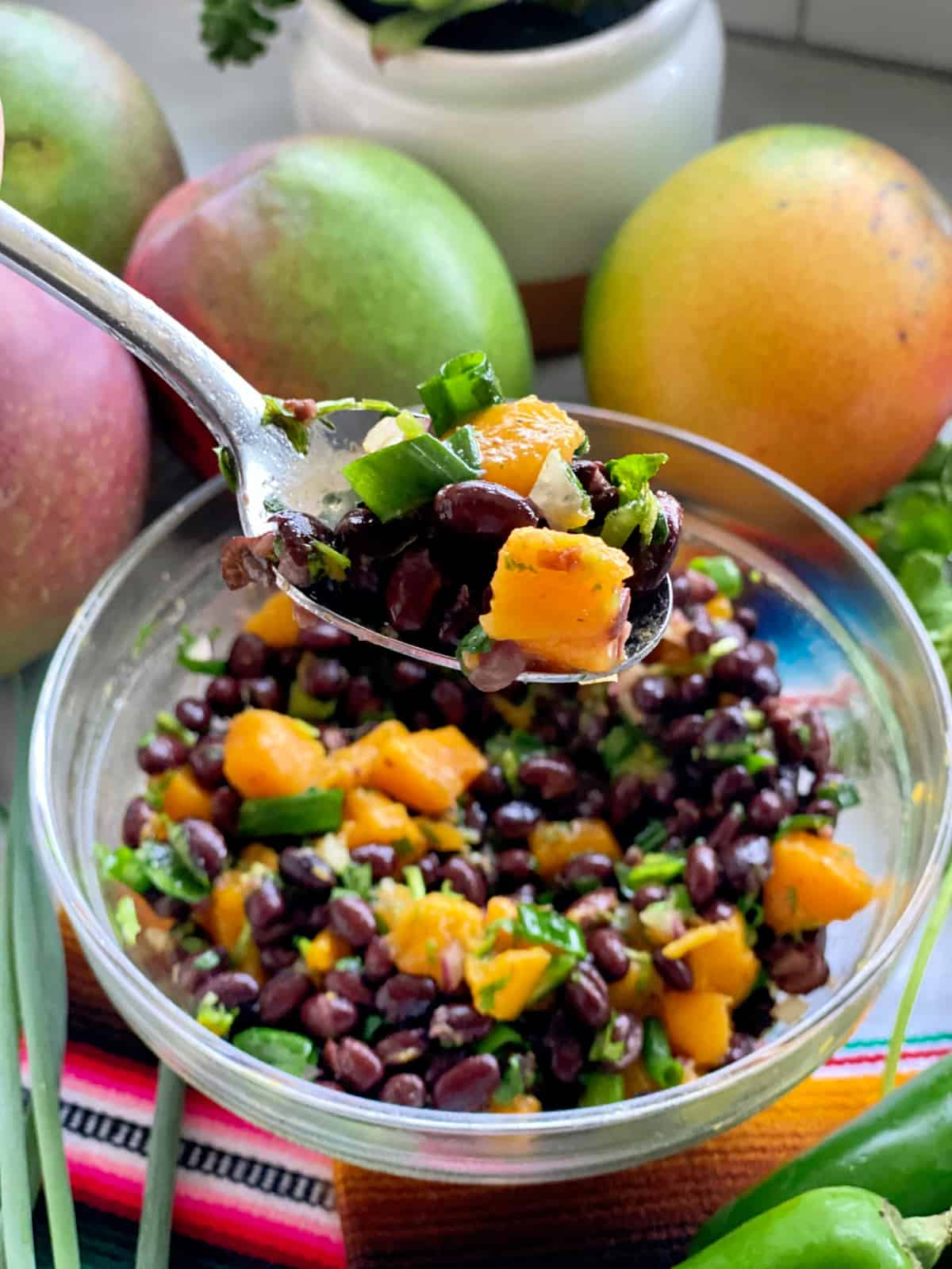 Silver spoon holding a scoop full of black beans, green onions, and mango over a bowl filled with black bean salad.