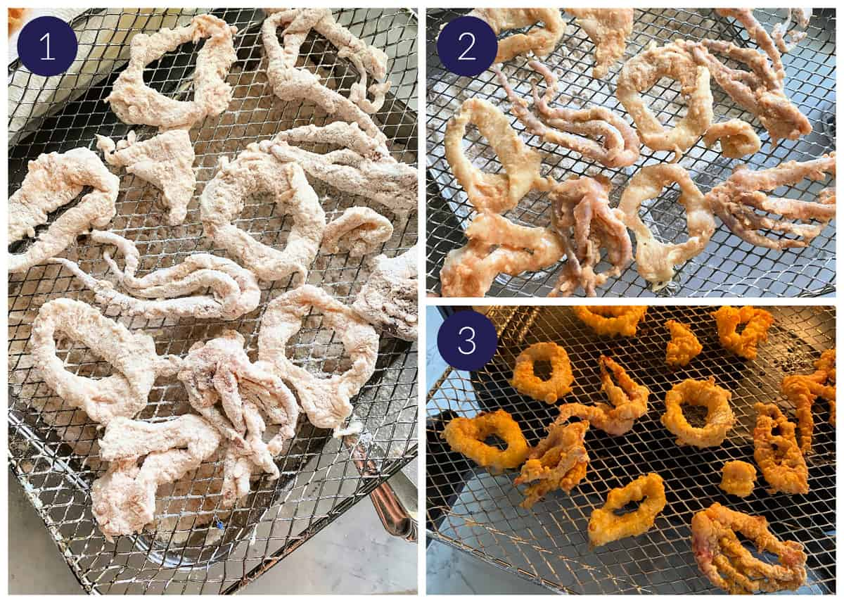 Three photos numbered in the top left corners of wire racks with battered squid rings and tenatcles.