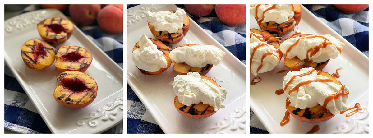 Three photos of assembling grilled peaches dessert on a white platter.